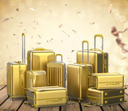 Gold hard case luggages Royalty Free Stock Image
