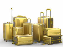 Gold hard case luggages on white background Stock Images