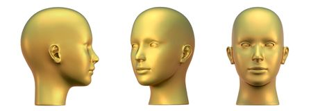 Gold head in three projections Royalty Free Stock Photo
