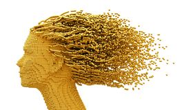 Gold Head Of Woman And 3D Spheres As Hair On White Background Royalty Free Stock Photos