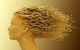 Gold Head Of Woman And 3D Spheres As Hair On Yellow Background Royalty Free Stock Photo