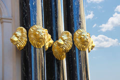 Gold heads of lions adorn the Caesar's Palace in Las Vegas Royalty Free Stock Photo