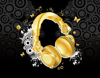 Gold headset vector  Stock Images