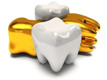 Gold and healthy teeth Stock Photography