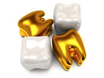 Gold and healthy teeth Stock Image