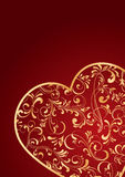 Gold heart. Decorative template from ornate elements, illustration Stock Images