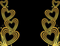 Gold heart background. Gold hearts along the left and right sides of a black background available as a vector Stock Photos
