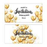 Gold Heart balloon Invitation. Gold Heart balloon on background. Party decoration, event design, balloons for wedding, invitation, birthday, anniversary Royalty Free Stock Photography
