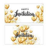 Gold Heart balloon Invitation. Gold Heart balloon on background. Party decoration, event design, balloons for wedding, invitation, birthday, anniversary Stock Image
