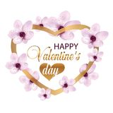 Gold heart with beautiful flowers. Decoration for posters, banners or cards Valentines day. Vector. Illustration Royalty Free Stock Photo