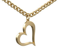 Gold heart on chain (clipping path included) Stock Photography