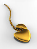 Gold heart on chain Stock Images