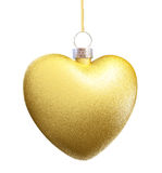 Gold Heart Christmas decorations. On white background. 3D render royalty free illustration