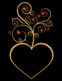 Gold heart flourish design Royalty Free Stock Image