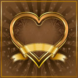 Gold heart frame Royalty Free Stock Photo