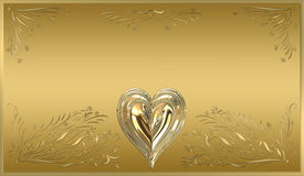 Gold heart frame plaque sign. Beautiful victorian style valentines plaque in ornate gold Stock Photo