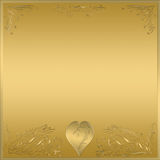 Gold heart frame plaque sign Royalty Free Stock Image