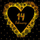 Gold heart frame shaped with fourteenth February text Royalty Free Stock Photography