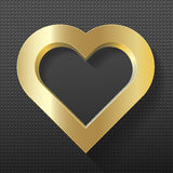 Gold heart frame on texture background Stock Photos