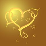 Gold heart  frame for valentine day Royalty Free Stock Photography