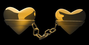Gold heart and gold chain. Isolated on black - love concept 3d Royalty Free Stock Photo