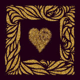 Gold heart and gold ornament  frame Royalty Free Stock Photography