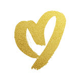 Gold heart hand drawn vector icon Stock Image