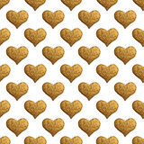 Gold heart hand painted pattern. Vintage love seamless golden background. Stock Image