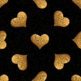 Gold heart hand painted pattern. Vintage love seamless golden background. Stock Photos