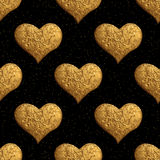 Gold heart hand painted pattern. Vintage love seamless golden background. Royalty Free Stock Photo