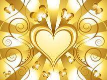 Gold Heart Holiday Background Stock Photo
