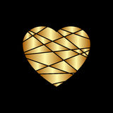Gold heart icon. Golden glitter silhouette,metal sign shape isolated on black background. Vector Illustration. Symbol of happy lov Stock Photo