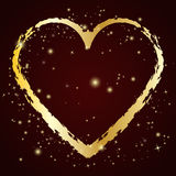 Gold heart icon with grunge brush. Vector illustration Royalty Free Stock Photo