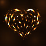 Gold heart light tracing effect Glowing Stock Photo