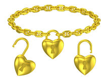 Gold heart lock pendant isolated necklace Royalty Free Stock Photography
