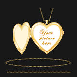 Gold Heart Locket, Engraved Stock Photos