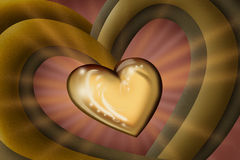 Gold heart of love Royalty Free Stock Photography