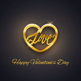 Gold heart with love text, Valentine's Day postcard, vector Stock Photos