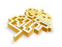 Gold heart maze path. Golden heart maze path on white background Stock Photo