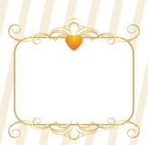 Gold heart with ornament. Decorative frame Royalty Free Stock Photo