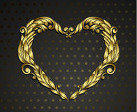 Gold heart ornamental Royalty Free Stock Images