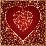 The Gold Heart from ornate elements. Decorative template from ornate elements, illustration Royalty Free Stock Photo
