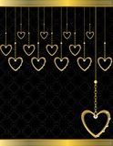 Gold heart patterned background 5. Gold heart patterned  background with jewel detail Stock Photos