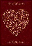 The Gold Heart on red background. Decorative template from ornate elements, illustration Stock Photo