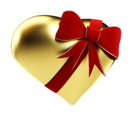 Gold heart of the red bow. On a white background Stock Photography