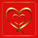 Gold heart ribbon red 2 Royalty Free Stock Photography