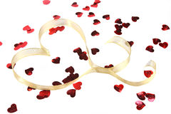 Gold Heart Ribbon With Red Heart Confetti Royalty Free Stock Images
