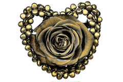 Gold heart and rose decoration Stock Photos