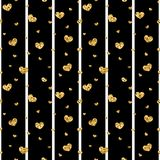 Gold heart seamless pattern. Black-white geometric stripes, golden confetti-hearts. Symbol of love, Valentine day. Holiday. Design wallpaper, background, fabric stock illustration