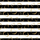 Gold heart seamless pattern. Black-white geometric stripes, golden grunge confetti-hearts. Symbol of love, Valentine day. Holiday. Design wallpaper, background Royalty Free Stock Photography